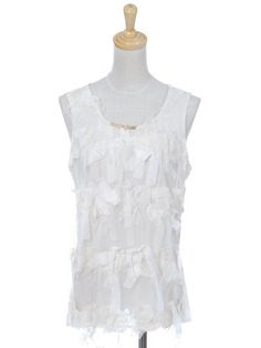 Anna-Kaci S/M Fit Off-White Mesh Ribbon Bow Tie Mesh Chiffon Fashion Blouse Anna-Kaci. $12.00