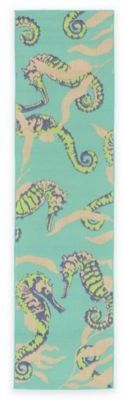 Liora Manné Liorra Manne Playa Seahorses Cool 1-Foot 11-Inch x 7-Foot 6-Inch Runner in Blue/Green