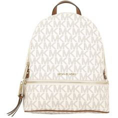 Michael Kors Rhea Zip MD Back Pack Vanilla  in white, Shoulder Bags (15,465 DOP) ❤ liked on Polyvore featuring bags, backpacks, white, zipper backpack, shoulder strap bags, shoulder strap handbags, pu leather backpack and urban backpack