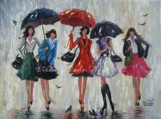 Five rain girl by Vickie Wade Umbrella Art, Under My Umbrella, Rain Girl, Sisters Art, Four Sisters, Singing In The Rain, Fashion Painting, Fashion Artwork, Art Design