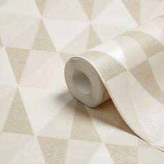 Colours Diamonds Taupe Geometric Glitter Effect Wallpaper | Departments | DIY at B&Q
