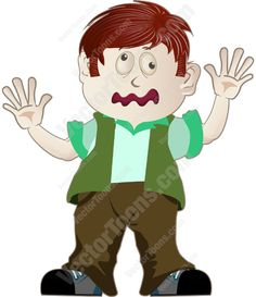 Boy with reddish brown hair standing with his hands up palms facing out #boy #brownpants #child #children #facingfront #funnylookonface #greenshirt #greenvest #handsup #kids #palmsfacingout #reddishbrownhair #standing