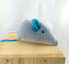 Upcycled jeans catnip mouse, blue jeans cat toy