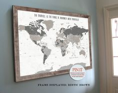 World Map, Push Pin Travel Map, World Map Wedding, Travel Map, Push ...