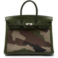 Heidi Klum wearing Hermes Birkin Bag in Camouflage and Crocodile