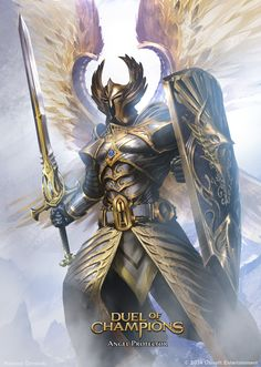 Angel Protector by artozi fighter paladin shield sword armor clothes clothing fashion player character npc | Create your own roleplaying game material w/ RPG Bard: www.rpgbard.com | Writing inspiration for Dungeons and Dragons DND D&D Pathfinder PFRPG Warhammer 40k Star Wars Shadowrun Call of Cthulhu Lord of the Rings LoTR + d20 fantasy science fiction scifi horror design | Not Trusty Sword art: click artwork for source