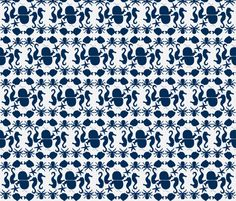 Sealife White and Navy fabric by katie_schlomann on Spoonflower - custom fabric