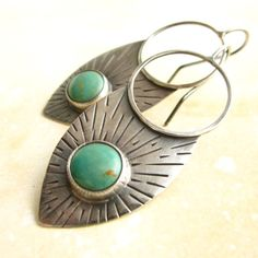 Sterling Silver Shields Turquoise Tribal Earrings by etsy Mocahete. love these!