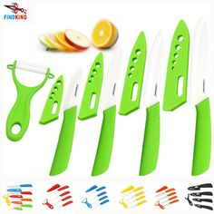 "Beauty Gifts Zirconia kitchen green color knife set Ceramic Knife Set 3"" 4"" 5"" 6"" inch+peeler+Covers+Free shipping www.peoplebazar.net    #peoplebazar"