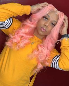 Lace Frontal Wigs Pink Hair Bleach Blonde Hair Turned Pink For Girl – wigbaba Baddie Hairstyles, Weave Hairstyles, Pretty Hairstyles, Toddler Hairstyles, Black Hairstyles, Hairstyle Ideas, Stylish Short Hair, Birthday Hair, 17th Birthday