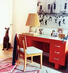Domino Magazine glossy red desk.. I want to paint Josh's desk like this