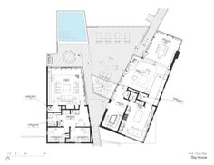 Modern Wooden House in Beautiful Appearance: Exciting House Floor Plan Of Modern Bay House First Level Floor With Large Courtyard Applied Sw. Modern Wooden House, Modern Houses, Plot Plan, Villa Plan, Modern Villa Design, New York Architecture, Hamptons House, House Layouts, House Floor Plans