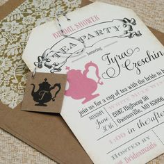 Tea Party Bridal Shower Invitation idea (this is essentially the invite but with a few changes and diff. Colors)