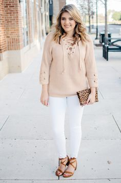 lace up sweater spring outfit idea - To get more cute Spring outfit ideas or to shop this look, click through to bylaurenm.com!