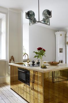 Simply Striking and Stunning Apartment with Scandinavian Style Done Luxurious! stunning brass kitchen island and statement pendant in this glamorous studio apartment Apartment Layout, One Bedroom Apartment, Apartment Kitchen, Home Decor Kitchen, Kitchen Interior, Apartment Checklist, Apartment Interior, Apartment Living, Scandinavian Interior Design