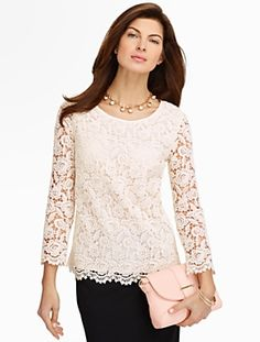 Talbots - Rose Lace Blouse Blouses and Shirts Petites Fashion Wear, Modest Fashion, Fashion Outfits, Daily Fashion, Blouse Styles, Blouse Designs, Neutral Blouses, Lace Tops, Lace Blouses