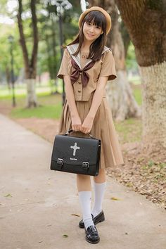 teamlala JK高品質茶色セーラー服 大きいサイズ女子高生夏服 3本ラインセーラー学生服 カワイイ