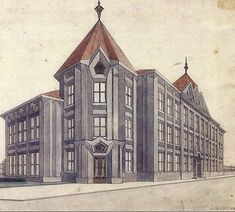 Unrealised plan for a primary school in the Czech Cubist style, Prague, 1913 [building] : architecture
