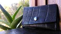 Black croco leather cardholder- Woman cardholder leather- Gift for her- Chrismas idea-Black leather walle