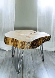 Reclaimed Wood - Rugged Canary Island Pine Tree Slice Table - End Table - Side…