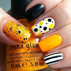 Halloween color themed nail art design Play along with Halloween shades and create abstract designs such as polka dots and stripes to add attitude to your nails this Hall. Get Nails, Fancy Nails, Love Nails, How To Do Nails, Nail Polish Designs, Nail Art Designs, Abstract Designs, Halloween Nail Art, Halloween Halloween