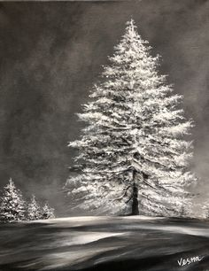 Black And White Painting - Independent by Vesna Delevska Winter Painting, Winter Art, Diy Painting, Acrylic Painting Inspiration, Acrylic Painting For Beginners, Acrylic Painting Lessons, Black Canvas Paintings, Christmas Paintings On Canvas, Black Canvas Art