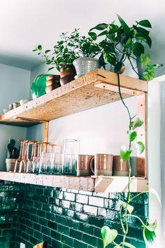 Boho Kitchen Reveal: The Whole Enchilada! [nice shelving] Kitchen Boho Kitchen Reveal: The Whole Enchilada! Green Kitchen, Kitchen Dining, Kitchen Decor, Kitchen Corner, Kitchen Tiles, Kitchen Plants, Tropical Kitchen, Maple Kitchen, Mini Kitchen
