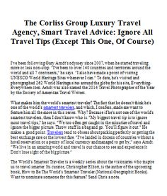 The Corliss Group Luxury Travel Agency, Smart Travel Advice: Ignore All Travel Tips (Except This One, Of Course)
