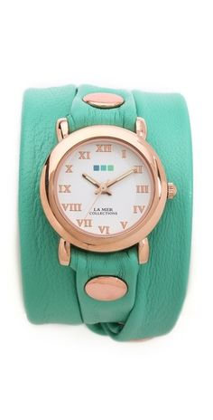 La Mer Collections Simple Wrap Watch -  FREE SHIPPING at shopbop.com. Exclusive to Shopbop. A classic La Mer wrap watch with a round case and a pebbled Italian leather band. Stud details. Adjustable length and buckle closure. Made in the USA.