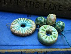 Ceramic Beads with Pendant Bracelet Components by JeraLunaDesigns, $15.00