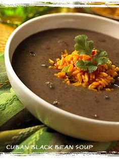Cuban Black Bean soup recipe from Bahama Breeze. I wish we had one in Michigan. I'd even drive to Detroit every once in awhile just to have the tostones appetizer and Caribbean sweet potatoes! Not to forget the drinks either. Best drinks and best prices.