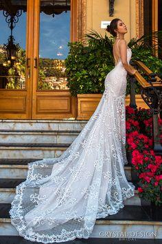 crystal design 2017 bridal sleeveless spagetti strap deep plunging v neck full embellishment elegant sexy fit and flare wedding dress low back chapel train (11 fler) sdv