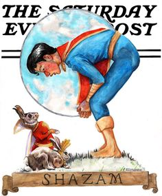 Based on a Post cover by Norman Rockwell with Hoppy the Marvel Bunny, his girlfriend Millie, and Captain Marvel Jr. Hoppy the Marvel Bunny and Captain Marvel Jr. Captain Marvel Shazam, Original Captain Marvel, Norman Rockwell, Comic Books Art, Comic Art, Superhero Humor, Deadpool Funny, Morning Cartoon, Comic Kunst