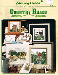 STONEY CREEK #283 - Country Roads Cross Stitch Patterns    10 different designs to stitch    Leaflet is in excellent condition with minor