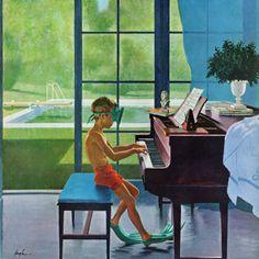 Poolside Piano Practice - George Hughes Giclée Print (1960)