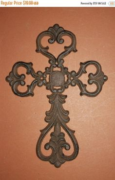"Check out ON SALE 1) pc, Elegant Scroll cast iron cross wall decor, free shipping, 10 7/8"" inches, Victorian cast iron cross, paint crosses, C-16B on wepeddlemetal"