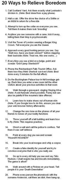 Sherlock Bucket List 20 Ways To Relieve Boredom