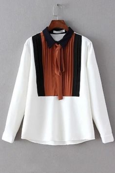 Contrast Lapel Long Sleeves Ribbon Embellish Blouse