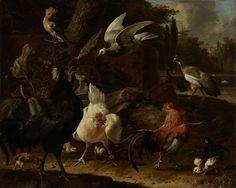 Vogels in een park, Melchior d' Hondecoeter, 1686 - Rijksmuseum