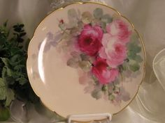 PINK BURGUNDY TEA ROSES Antique Limoges French Masterpiece Hand Painted Plate Vintage Victorian China Painting World Famous Early American Porcelain Artist: IDA FERRIS Haviland France circa 1893 by IndulgenceLady102
