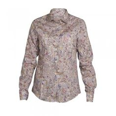 A beautiful  print shirt which depicts blooming wild flowers with hints of pink, blue, yellow and green. The style is tailored at the waist, but a classic fitting shirt and is the perfect garment for your Summer wardrobe. Features include button through placard and wolfhound embroidery on the chest.