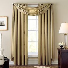 Cindy Crawford Style® Aria Curtain Panel - jcpenney This one in bold red would be nice for the dining room with a brown table Drapery Panels, Drapes Curtains, Bedroom Curtains, Cindy Crawford Home, Waterfall Valance, Elegant Curtains, Bedroom Orange, Window Coverings, Window Treatments