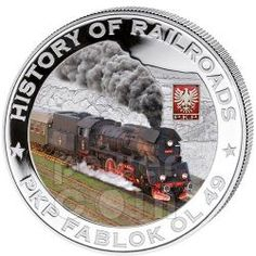 PKP FABLOK OL 49 Locomotiva Vapore Ferrovia Moneta Argento 5$ Liberia 2011 Gold And Silver Coins, Coins For Sale, Liberia, Coin Collecting, Locomotive, Weird, Old Things, History, Warriors