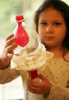 """""""The balloon represents thelungand the plastic sheet across the bottom of the bottle represents thediaphragm muscle. As you pull the tab down, you contract the diaphragm and inflate the lung. As you push the tab back up, the diaphragm relaxes and the lung deflates. It is a subtle inflate/deflate with the balloon, but the girls were able to see the basic idea of how the diaphragm and lungs work.""""    Follow the link below for more information on this project:  http://earlybirdhomesc"""
