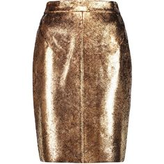 Raoul Metallic cracked-leather pencil skirt (£322) ❤ liked on Polyvore featuring skirts, bottoms, gold, stretch pencil skirt, knee high skirts, brown skirt, structured skirt and pencil skirt