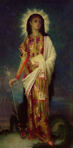 Ernest Hébert , Saint Margaret, c. 1877. Oil on canvas, Musée National Ernest Hébert, Paris. In honour of the Feast of St. Margaret of Antioch.