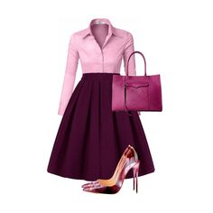A highwaist pleated tea length skirt in the color grape goes great with a simple tailored long sleeve button down shirt to complete a gorgeous outfit and we have found the perfect pair of stiletto pumps that suits it perfectly.A Rebecca Minkoff large Mab tote bag locks it up.