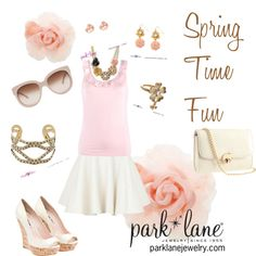 Spring Time Fun, created by parklanejewelry on Polyvore    Park Lane Jewelry featured: Madame Butterfly necklace & earrings, Kate earrings, A La Mode bracelet, & Gardenia ring