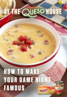 With the legendary Famous Queso at your party, you've earned bragging rights forever. Just mix the one-two kick of RO*TEL's diced tomatoes and spicy green chilies with the creamy goodness of Liquid Gold VELVEETA for a bowl full of party magic. Healthy Muffin Recipes, Healthy Muffins, Dip Recipes, Mexican Food Recipes, Crockpot Recipes, Cooking Recipes, Mexican Dishes, Recipies, Appetizer Dips