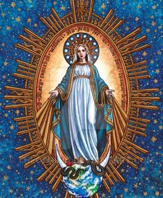 """Our Lady of Grace: Queen of the Miraculous Medal © Cecilia Lawrence October 2017 Watercolor and Ink inches """"O Mary conceived withou. Our Lady of Grace: Queen of the Miraculous Medal Religious Pictures, Jesus Pictures, Religious Icons, Religious Art, Divine Mother, Blessed Mother Mary, Blessed Virgin Mary, Catholic Religion, Catholic Art"""